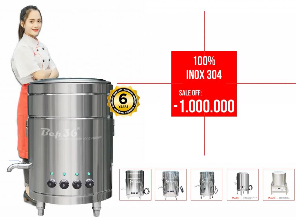 Nồi nấu phở điện inox 304 trong chương trình khuyến mại giảm giá Bep36