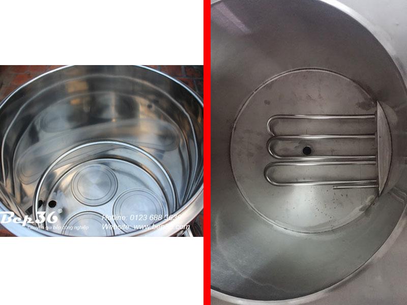 Đĩa nhiệt đang được dùng trên nồi phở nhà máy Bếp 36 và thanh nhiệt thường dùng trên các dòng nồi khác